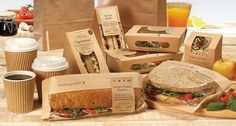 kraft paper packaging --Instead of using a clear plastic panel, showing the contents, i think it would be neat to print the image of what you can expect to see inside the package. Color printing on the craft brown, i think, suggests something a little more healthy, and a picture would probably look a lot better than a squwished up sandwich. --Basic thought: color printing on craft brown paper.