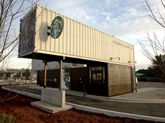 If you're grabbing a venti latte to-go from the new Starbucks Coffee in Tukwila, Washington, you'll be picking it up from a surprising location. The coffee company is the latest to make use of eco-friendly shipping container design: it has converted four used containers into a drive-thru pop-up shop.
