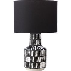 Pottery Lamp - Hatch black and white table lamp - natural marks. white hatch marks on black-painted ceramic base gives this table lamp organic style. with curves formed by hand on a potter's wheel using locally-sourced clay, lamp is glazed, fired, and finished by hand. black linen shade adds chic accent.