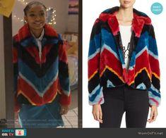 Zoey's fur chevron stripe jacket on Grown-ish. Outfit Details: https://wornontv.net/91604/ #Grown-ish