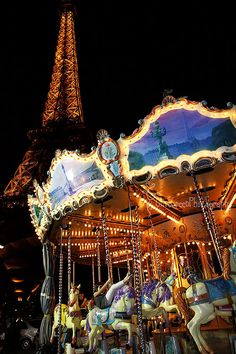 This is how we like to see the Eiffel Tower at night, by the carousell, everything all lite up, great memories.