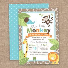 Primer niño cumpleaños mono & selva animales invitación, Safari, bricolaje imprimible