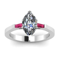Marquise Cut Pink Sapphire Diamond Engagement Ring
