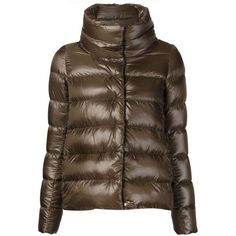 Herno Padded Jacket (€470) ❤ liked on Polyvore featuring outerwear, jackets, padded jacket, herno, brown jacket, herno jacket and goose down jacket