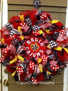 Ribbon UL Ragin Cajun wreath