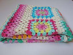 Crochet baby blanket granny square blanket by BobeRosaCrochet