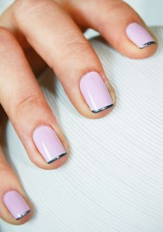 A metallic tip adds instant edge to the classic French mani.