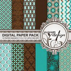 Retro Pattern Digital Paper Pack Instant Download von Stilboxx
