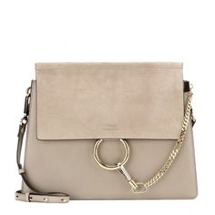 Chloé Faye Leather and Suede Shoulder Bag (11.775 DKK) ❤ liked on Polyvore featuring bags, handbags, shoulder bags, purses, grey, handbags shoulder bags, man shoulder bag, grey leather purse, purse shoulder bag and leather purses