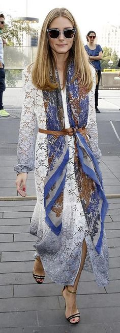 Olivia Palermo waering a lace long dress + belted silk scarf