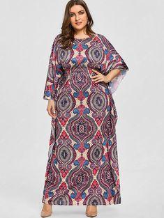 Ethnic Print Batwing Sleeve Plus Size Dress - PURPLE 3XL