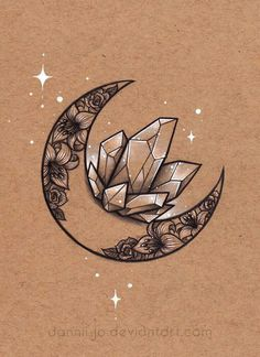 Crescent Floral Moon Crystals Tattoo Moon, Sailor Moon Tattoos, Fan Tattoo, Sternum Tattoo, Tatoo Art, Cameo Tattoo, Carnation Drawing, Carnation Flower Tattoo, Lotus Drawing