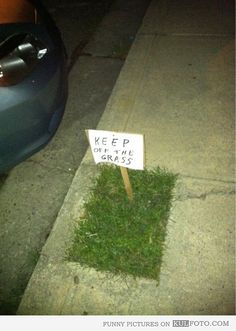 Keep off the grass.