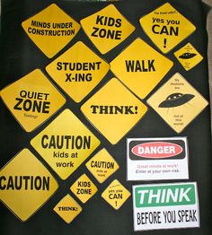 "Behavior Management Road Signs. Use them as a silent signal during independent work...use the ""walk"" sign when they can get out of their seat for passing."