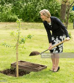 Sophie, Countess of Wessex plants an 'Oxford Beauty' apple tree during a visit to Cogges Manor Farm on May 19, 2016 in Witney, England.