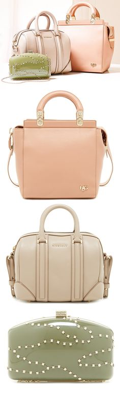 Givenchy Handbags / Purses in Peach / Apricot, Nude, and Light Olive Green