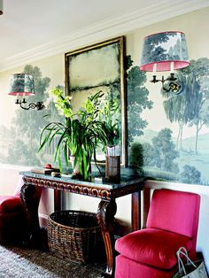 "Love the colors here. They even wallpapered the lampshades to match! From the book ""Tom Scheerer Decorates."""