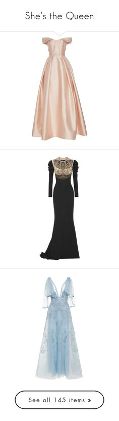 """She's the Queen"" by infantilejoy ❤ liked on Polyvore featuring dresses, gowns, reem acra, long dresses, embellished gown, long embroidered dress, embroidered dress, tulle ball gown, glamorous evening dresses and blue"
