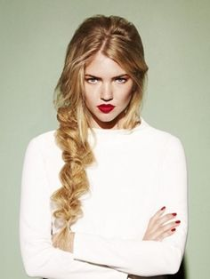 messy fishtail #braid x statement red lips