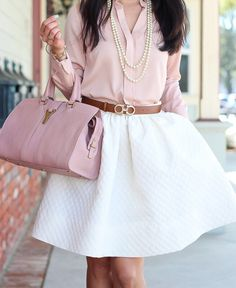 Blush and white on repeat.by @stylishpetite