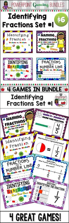 "I've bundled the first 4 games of my ""Identifying Fractions"" games together! Each game reinforces the naming fractions in various ways. This includes fractions bars, rectangles, circles and number lines. Each game has 20 to 25 questions."