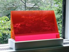 Red Gradient Wedge  Cast Polyester Resin  20 x 8 x 18