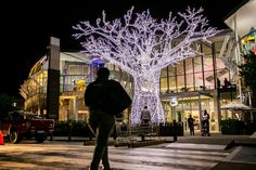 Shopping centers have to adapt to offer more than simply shopping: they need to offer experiences. Experience lighting is a simple, cost-effective way to do this. Christmas Pictures, Christmas Trees, Chandelier Lighting, Chandeliers, Shopping Center, Light Decorations, Louvre, Lights, Simple