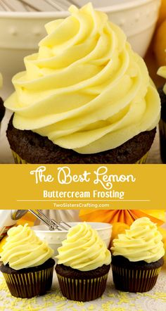 When life gives you lemons, make this delicious Best Lemon Buttercream Frosting. Bright, fresh, creamy and lemony. This is a traditional homemade lemon butter cream frosting that everyone will love. And it is so easy to make. This tasty frosting will make Food Cakes, Cupcake Cakes, Lemon Cupcakes, Baking Cakes, Bread Baking, Caramel Cupcakes, Cup Cakes, Just Desserts, Delicious Desserts