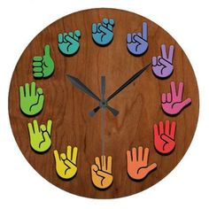 ASL Woodgrain Large Clock ASL sign language hands clock, with hands in color wheel colors, on a woodgrain faux finish background. Sign Language Phrases, Sign Language Alphabet, Learn Sign Language, American Sign Language, Sign Language Colors, Sign Language For Kids, Asl Signs, Diy Clock, Clock Decor