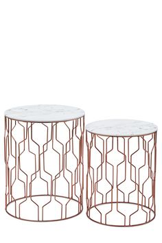 This metallic and marble side table just goes to show, mixed materials rule.