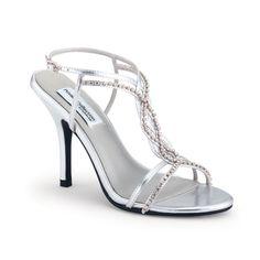 SALE! Silver Crystal Strappy Striking Heels - Unique Vintage - Prom dresses, retro dresses, retro swimsuits.