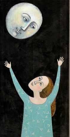 reaching for the moon - black backgrounds  this artist has interesting faces