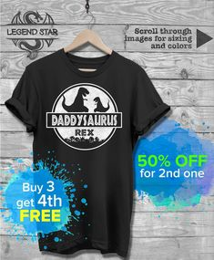 Daddysaurus T Shirt, Papasaurus T-Shirt, Dinosaur Shirts, Daddy Saurus Papa Saurus Tee, Fathers Day Christmas Birthday gift Funny Dad Tshirt  This makes for a great staple t-shirt. Its made of a thicker, heavier cotton, but its still soft. And the double stitching on the neckline and sleeves add