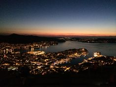 View from Fløyen by night - Bergen, Norway