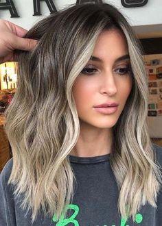 Ash Blonde Hair Dye, Pretty Blonde Hair, Blonde Hair Colour Shades, Ombre Hair Color, Hair Color Balayage, Brunette Hair, Dyed Hair, Blonde Bangs, Gray Hair