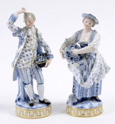 Lot: A pair of late 19th century Meissen figures, of a lady, Lot Number: 0141, Starting Bid: £70, Auctioneer: Charterhouse, Auction: Pictures, Prints, Books, Sporting & Antiques, Date: October 25th, 2013 PET