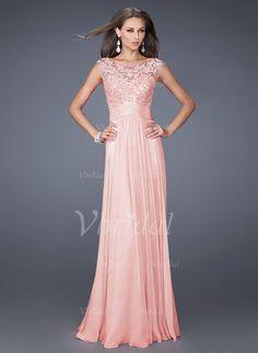 A-Line/Princess Scoop Neck Floor-Length Chiffon Evening Dress With Lace Appliques Lace (0175055877) - Vbridal