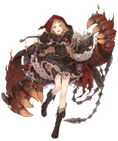 View an image titled 'Red Riding Hood, Sorcerer Job Art' in our SINoALICE art gallery featuring official character designs, concept art, and promo pictures. Female Character Design, Character Design References, Character Design Inspiration, Game Character, Character Concept, Concept Art, Manga Witch, Anime Artwork, Red Riding Hood