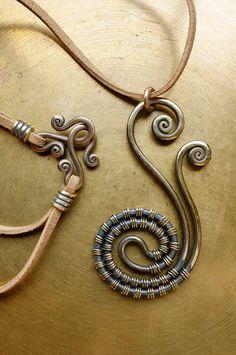 Necklace,Pendant,Wrapped jewelry,handmade,brass jewelry,Copper jewelry,Rustic jewelry,Handmade pendant,Armenian ethnic jewelry.от ArnoshArtJewelry