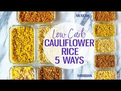 This post will show you how to create Cauliflower Rice 5 Ways - there are Mexican, Hawaiian, Greek, Indian and Asian flavours for this low carb side dish! How To Make Cauliflower, Frozen Cauliflower Rice, Cauliflower Dishes, Low Carb Side Dishes, Side Dish Recipes, Vegetable Recipes, Keto Recipes, Healthy Meals To Cook, Healthy Breakfasts