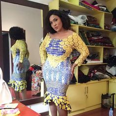Chic Ankara dress styles can be worn to different occasion and you won't feel out of place. In fact chic Ankara dress styles coordinated with complementing accessories have a way of enhancing your overall look. Ankara Dress Styles, Ankara Gowns, Latest Ankara Styles, African Print Dresses, African Print Fashion, African Fashion Dresses, African Dress, African Lace, African Prints