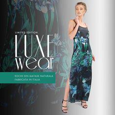 #luxewear #summer18 #silkdress #madeinromania #yokko Fashion Prints, Silk Dress, How To Make, How To Wear, Glamour, Dresses, Design, Vestidos, Silk Gown