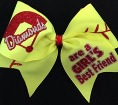 Softball Bow  Diamonds are a Girl's Best Friend by BOWSandBALLERS