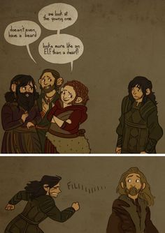 Poor Kili. I love how the dwarf women look.