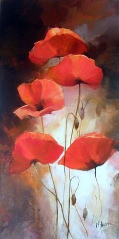 Different Poppies, © Willem Haenraets, acrylic on canvas, 2009
