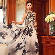 Официальный+вечер+Платье+-+Цвет+слоновой+кости++Принцесса++Лодочкой+Длина+до+пола+Шелк++–+RUB+p.+11+501,68