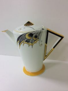 Rare SHELLEY Art Deco MODE Coffee pot YELLOW BUTTERFLY WING