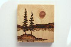 Waters Edge  Wood burned Landscape Art on Wood by TwigsandBlossoms