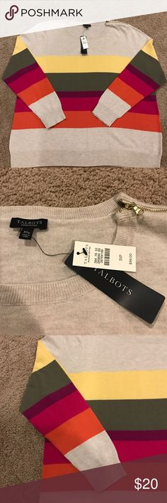 Talbots Woman Stripe Cotton Sweater Fun striped cotton Talbots sweater with a cool shoulder zip feature.  NWT !  Great statement piece!  Pet and smoke free home.  This is  Women's 3X Petite Talbots Sweaters Crew & Scoop Necks