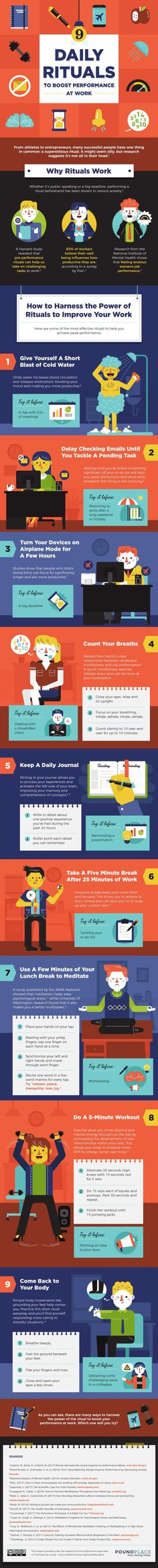 9 Daily Rituals To Boost Performance At Work - #infographic